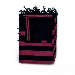 fouta lined corfu black & fuschia corfou 5 SERVIETTES & FOUTAS DOUBLEES 10,00€