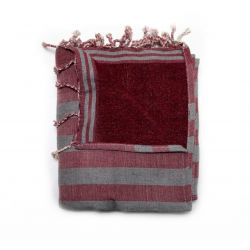fouta lined corfu red & grey corfou 7 SERVIETTES & FOUTAS DOUBLEES 10,00€