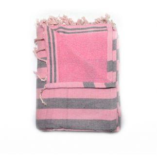 fouta sponge corfu pink & grey