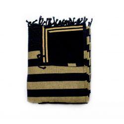 fouta lined corfu black & gold corfou 4 SERVIETTES & FOUTAS DOUBLEES 10,00€