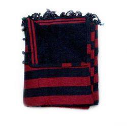 fouta lined corfu black & red corfou 1 SERVIETTES & FOUTAS DOUBLEES 10,00€