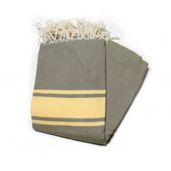 fouta 1.5x2.5 mclassique vert miltaire & jaune paille